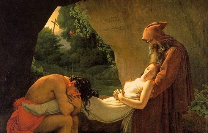 Сердечко в коробочке, красавица в меду: Странные отношения коронованных особ с мёртвыми любимыми супругами. Картина Анна-Луи Жироде-Триозона.
