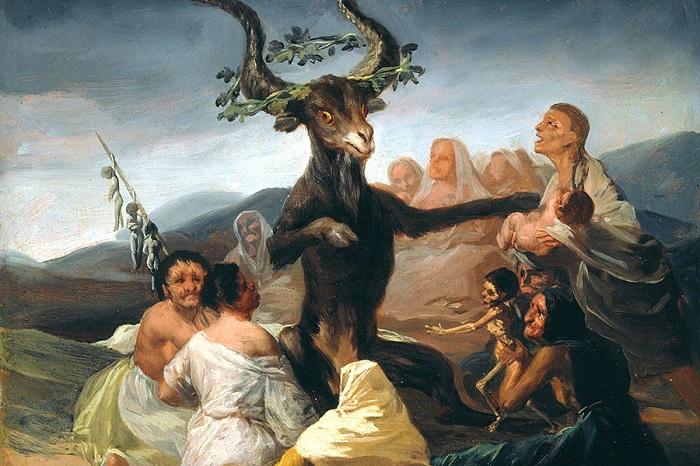 Ведьмы приносят в жертву детей на картине Франсиско Гойи.