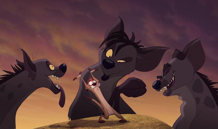 Гиены, и только они, разговаривают в мультфильме в духе афроамериканского гетто.