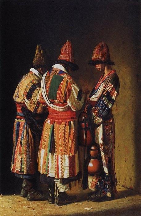 Дервиши на празднике от художника Василия Верещагина. Будучи аскетами, дервиши принципиально носили лохмотья.