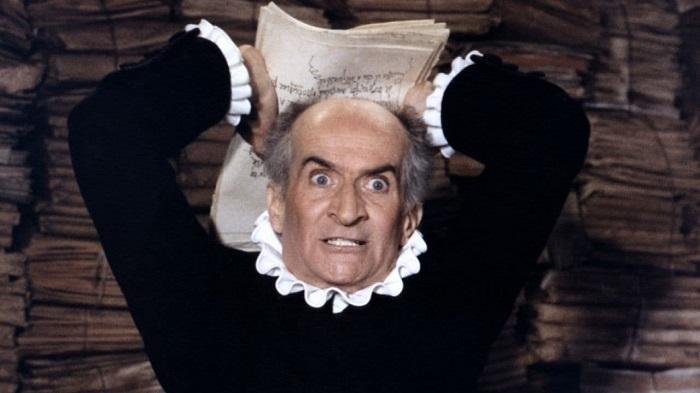 Луи де Фюнес в роли Гарпагона в экранизации Мольера.