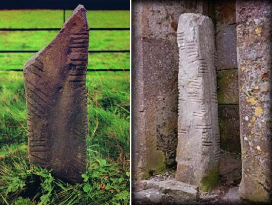 Если посмотреть на эти надгробья, становится ясно, что огамическое письмо идеально для того, чтобы быстро и просто нанести надпись на камень с прямой длинной гранью в качестве основной линии.