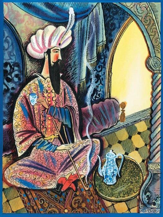 Иллюстрация к сказке Гауфа «Халиф-аист».