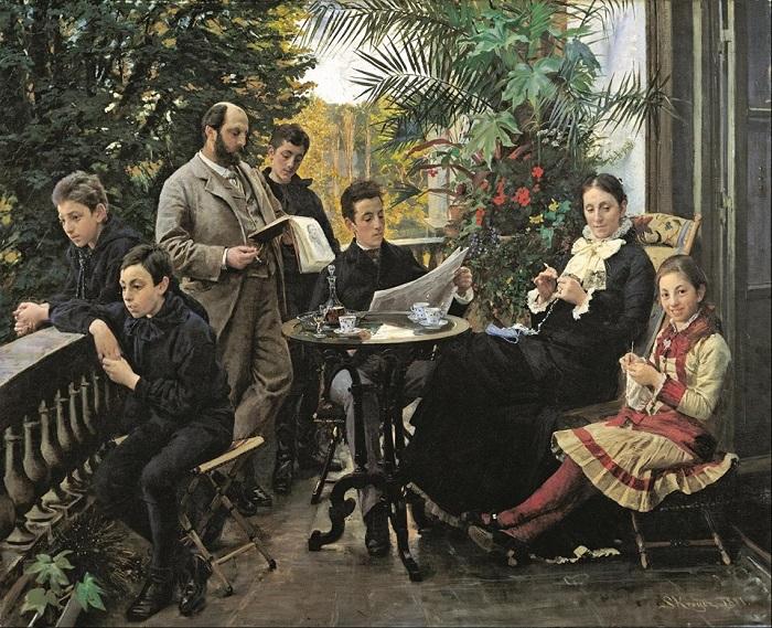 Художник Педер Крёйер засвидетельствовал, что газеты помогали членам семьи игнорировать друг друга задолго до смартфонов и соцсетей.