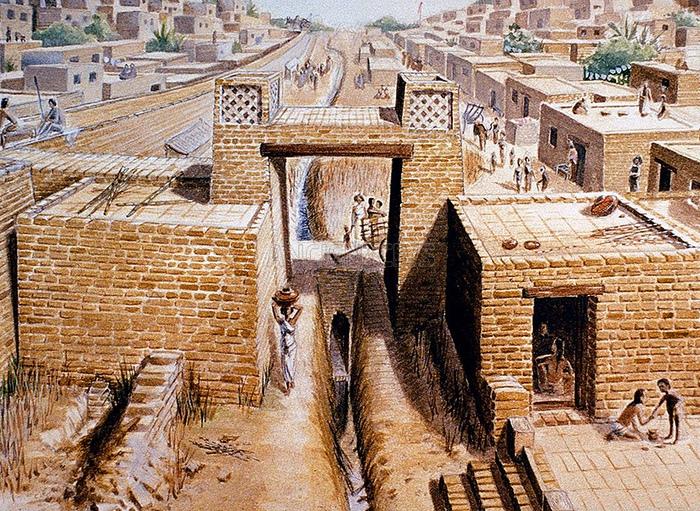 Хараппская город Мохенджо-Даро был спланирован так, что в нём могли жить 80000 человек. Улицы шли параллельно и перпендикулярно, и центральные были шириной в десять метров.