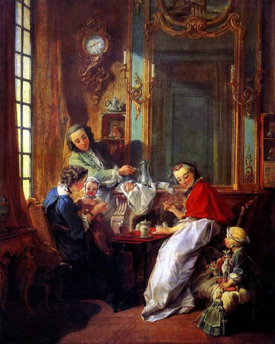 Простые в изготовлении и относительно недорогие, меренги моментально завоевали популярность как десерт во Франции. Картина Франсуа Буше.