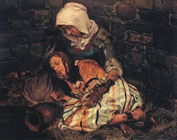 Слишком привлекательную девушку могли обвинить в том, что она использует чары, и казнить как ведьму. Картина Николая Бессонова.