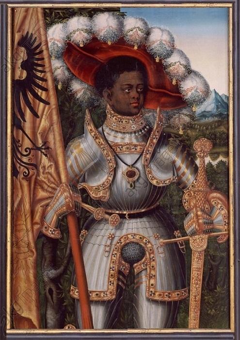 Святой Маврикий с флагом Священной Римской империи.