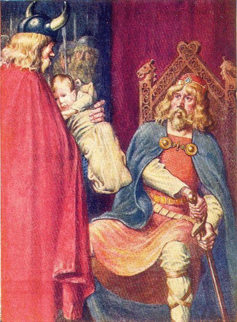 Вот так раньше представляли передачу маленького Хакона на воспитание английскому королю папой-викингом.