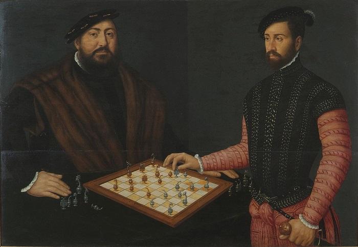 Неизвестный художник, «Курфюрст Иоганн Фридрих Великодушный играет в шахматы с испанским дворянином», 1548.