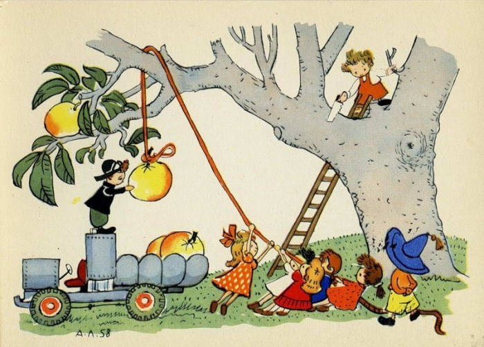 Коротышки собирают урожай. Иллюстрация Алексея Лаптева.