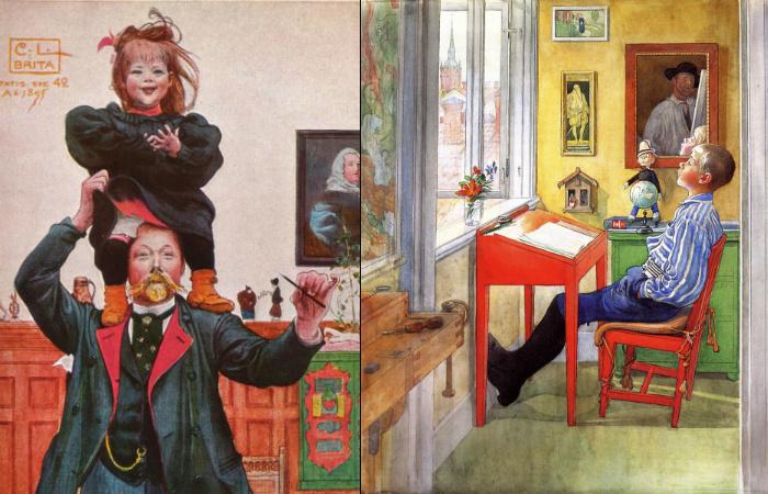 Карл Улоф Ларссон с детьми в интерьере от Карин Ларссон