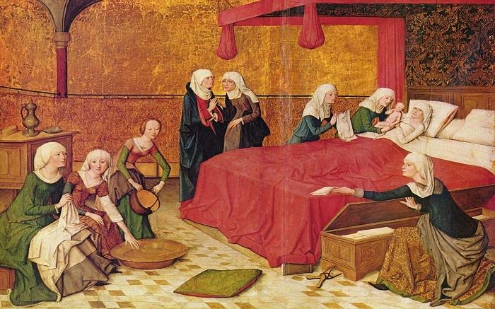 Время до, во время и после родов знатная европейка Средних веков проводила в комнате, полной женщин.