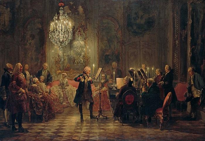 Фридрих обожал музыку, покровительствовал музыкантам и сам играл на флейте (она считалась в том числе армейским инструментом). Картина Адольфа фон Мейцеля.
