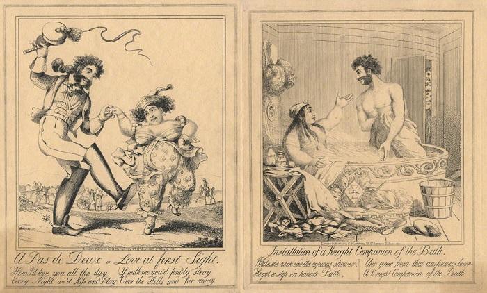 Карикатуры на Каролину и Бартоломео.