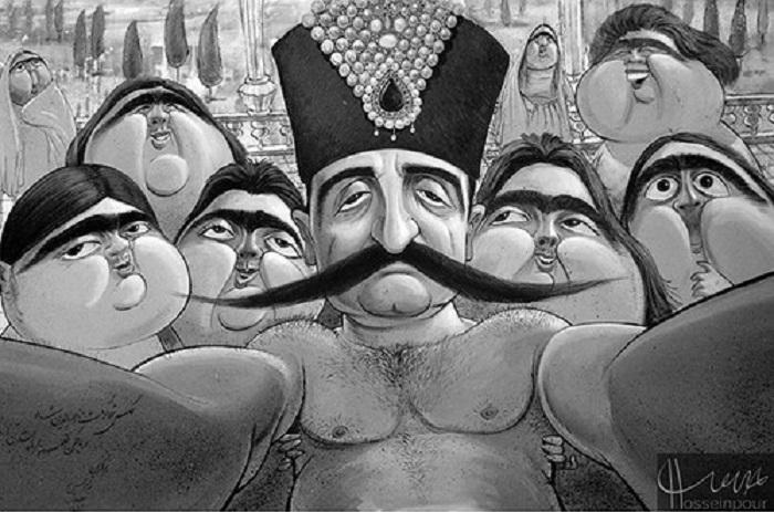 Карикатуры на семейные фотографии шаха от Бозоргмера Хоссейнпура.