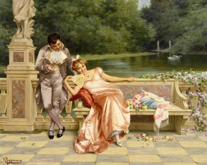Разговаривая с девушкой, юноша внимательно глядел на веер. Картина Витторио Реджианини.