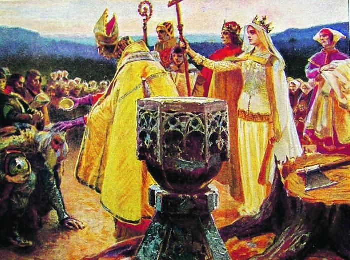 Ядвига и Ягайло крестят литовцев. Картина Петра Стахевича.