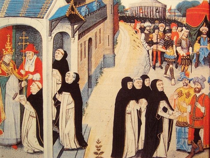 Слева папа Римский передаёт письмо послам, справа послы вручают его монголам. Да, справа - монголы.