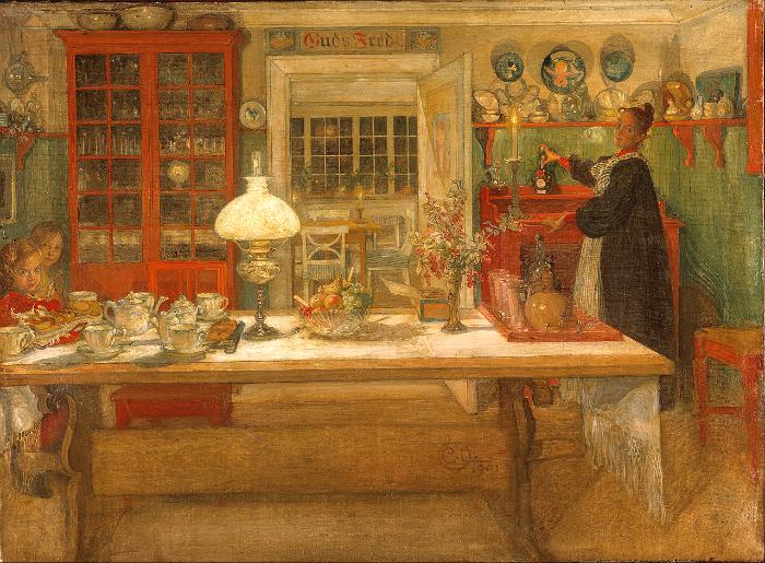Акварель Карла, показывающая интерьер от Карин и её саму.