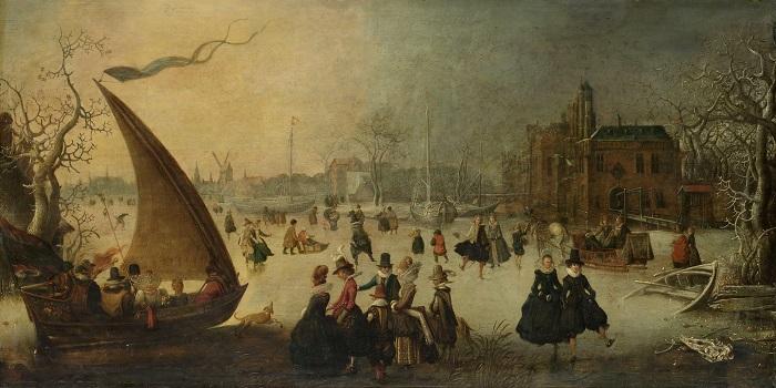 Голландцы семнадцатого века на коньках, санях и лодке.