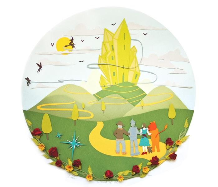 Сказочные пейзажи Саре тоже даются хорошо: иллюстрация к *Волшебнику страны Оз*.