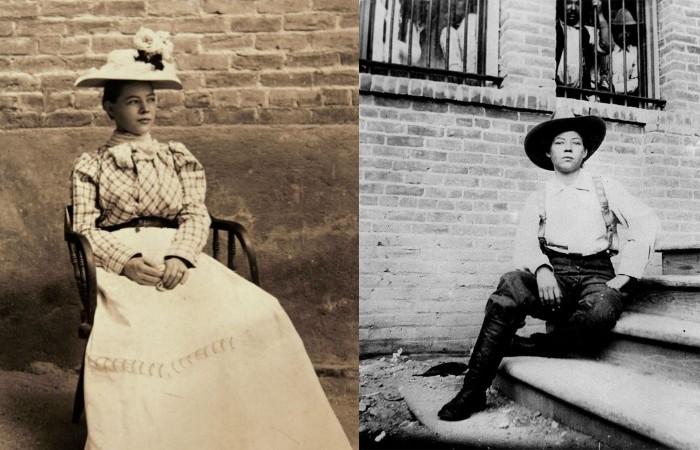 Пёрл Харт в женском и мужском костюме.
