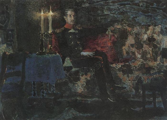 Печорин глазами Михаила Врубеля погружён во тьму, сливаясь с ней.