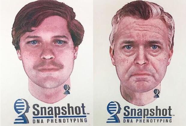 Фоторобот убийцы в двух разных возрастах.