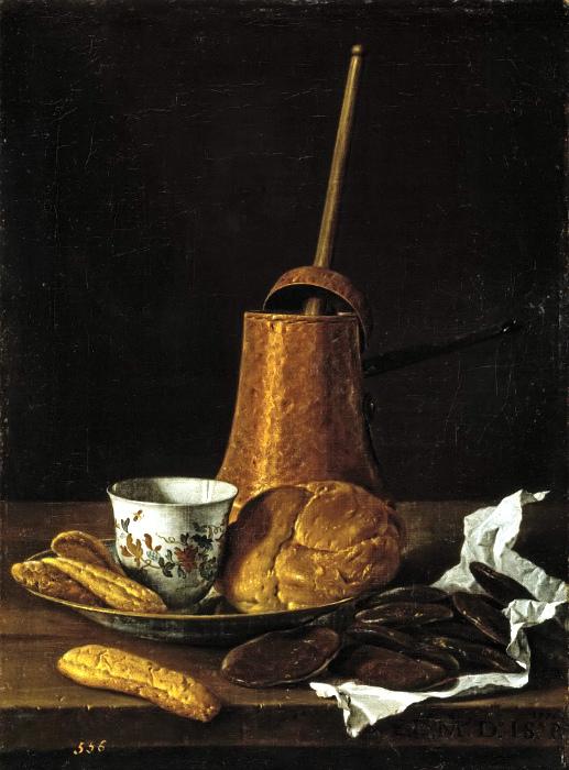 В таким сосудах готовили горячий шоколад. Картина Луиса Мелендеса.