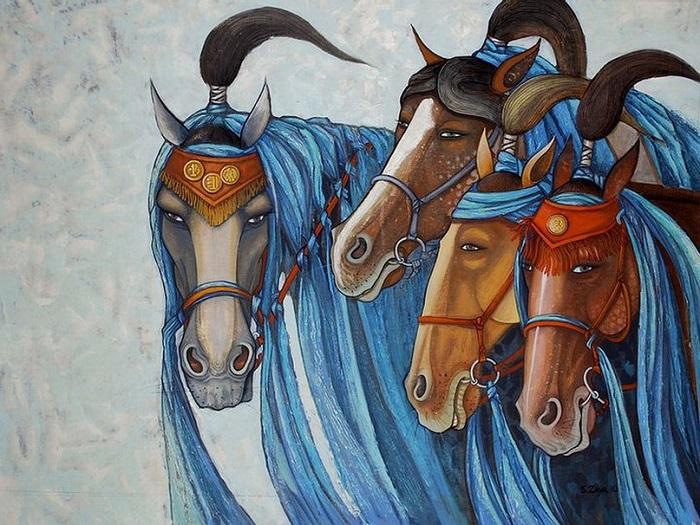 В Монголии многие до сих пор разводят лошадей. Автор картины: Заясайхан Самбуу.
