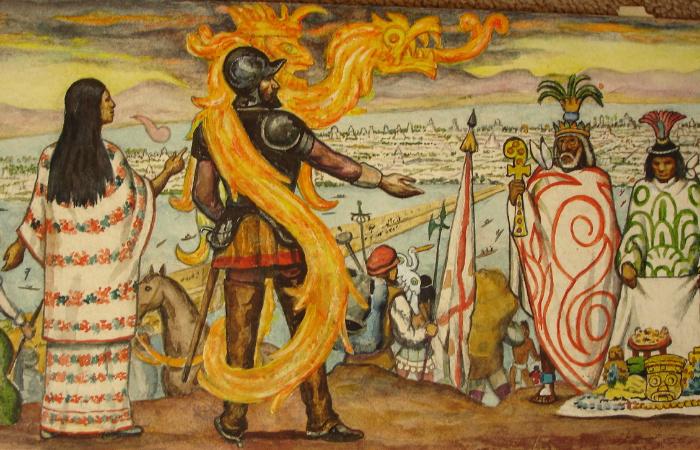 Принцесса Малинче помогала испанцам уничтожать империю, которую ненавидела. Фреска Роберт Куэво дель Рио