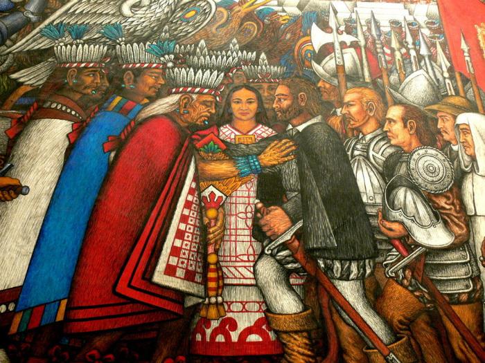 Фреска, изображающая Малиналь во время переговоров между европейцами и индейцами. Она не просто так не смотрит ни на тех, ни на других: у неё своя игра