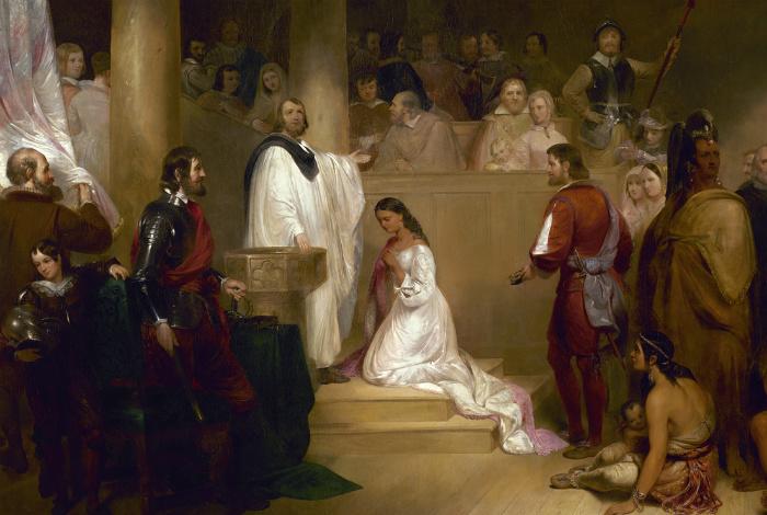 Фрагмент картины, изображающей крещение Покахонтас