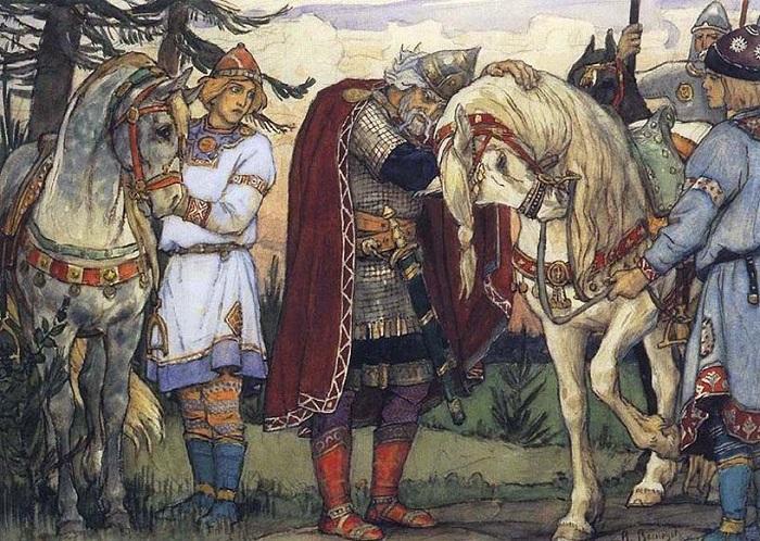 Один из первых известных русских князей носил имя скандинавского происхождения: Олег. Рисунок Васнецова.