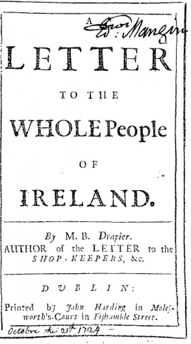 Первое письмо суконщика. Хотя их вышло только два, ирландцы долго ждали третьего.