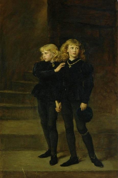 Все картины, изображающие детей короля Эдуарда, племянников Ричарда, в Тауэре, намекают на их убийство. Картина Джона Эверетта Мале.