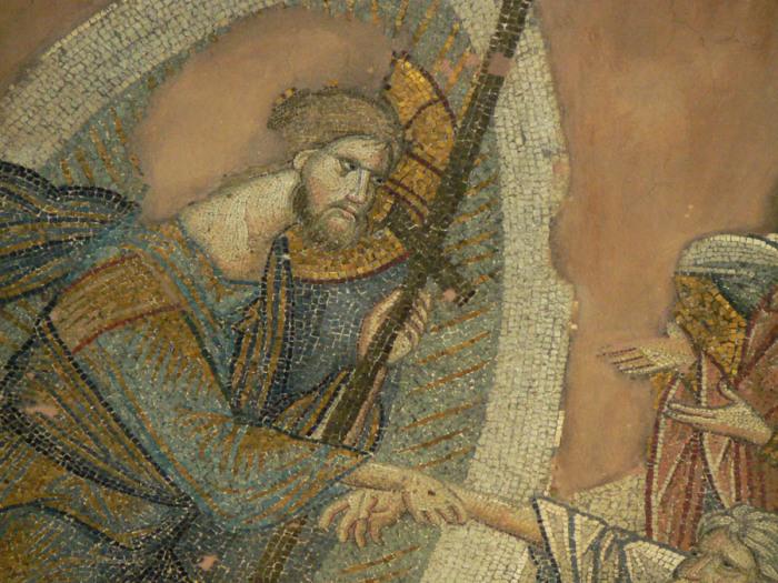 Византийская живопись претерпела упадок в седьмом веке и всё же сохраняла много старых классических приёмов. А эта фреска навевает ассоциации с Джотто, рисовавшем примерно в то же время, что автор фрески.