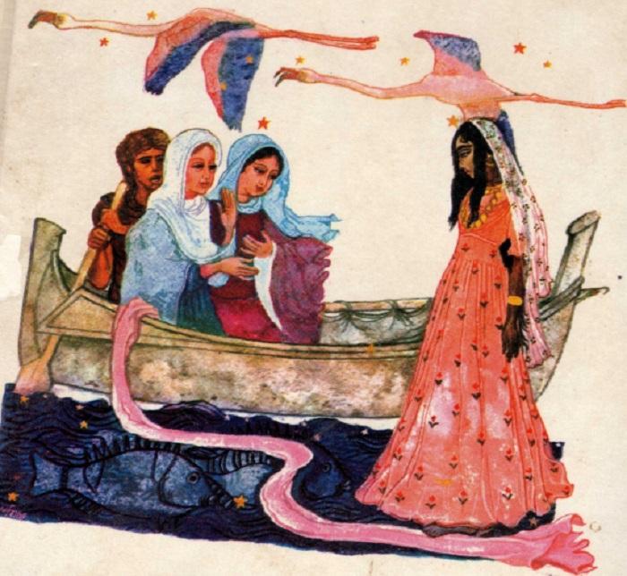 Рисунок, изображающий спасение Сарой двух святых Марий.