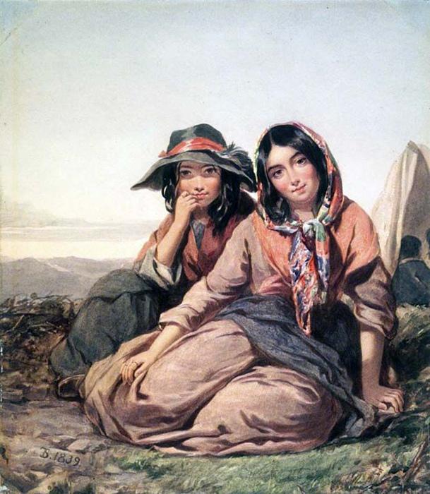 Цыганские девушки в Англии стараются не подпускать парней близко. Картина Томаса Салли.