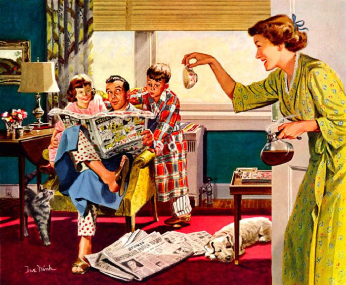 В рекламе пятидесятых взрослая женщина всё время обслуживает домашних, но при этом выглядит так, словно собралась в гости.