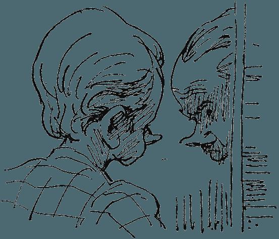 Иллюстрация Олега Коровина к роману *Человек, потерявший лицо*.