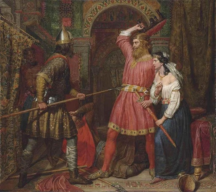 На итальянцев нападали лангобарды, на лангобардов нападали франки. Картина Чарльза Лэндсиера.