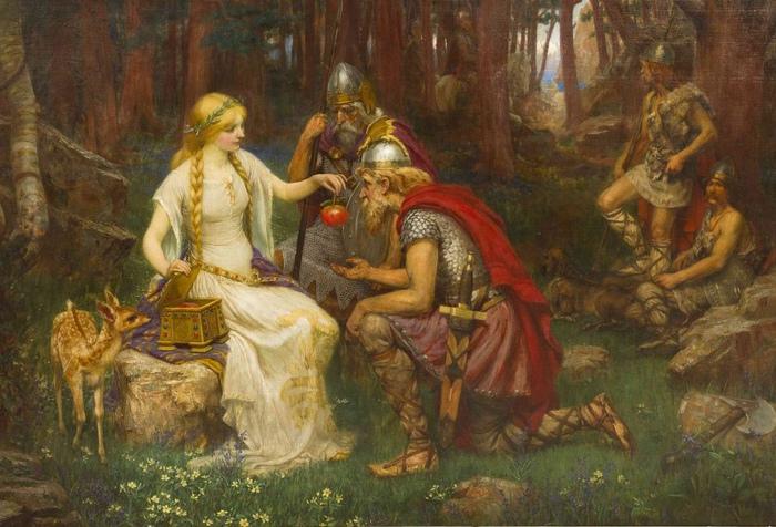 Одной из покровительница влюблённых, возможно, была Идунн. Она также хранила молодильные яблочки. Картина Джеймса Пенроуза.
