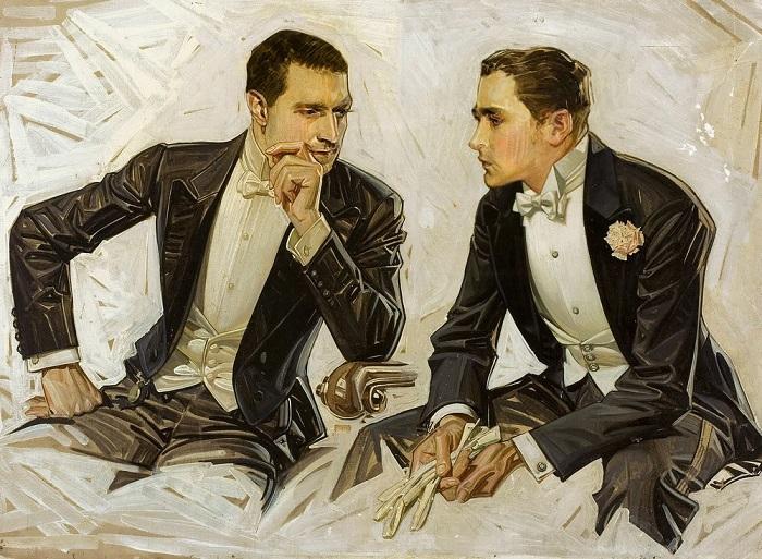 В истории было немало времён, когда во время поцелуя не стоило зарываться пальцами в волосы своего возлюбленного - вся рука будет в укладочном средстве. Рисунок Джозефа Кристиана.