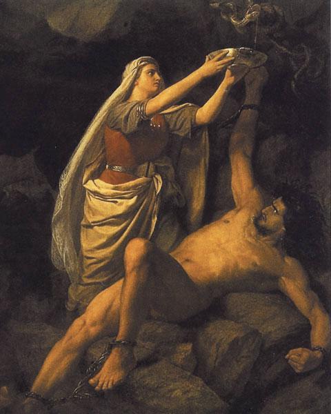Локи, наказанный за все свои проделки, и его жена Сигюн, от художника Мартена Эскиля Винге.