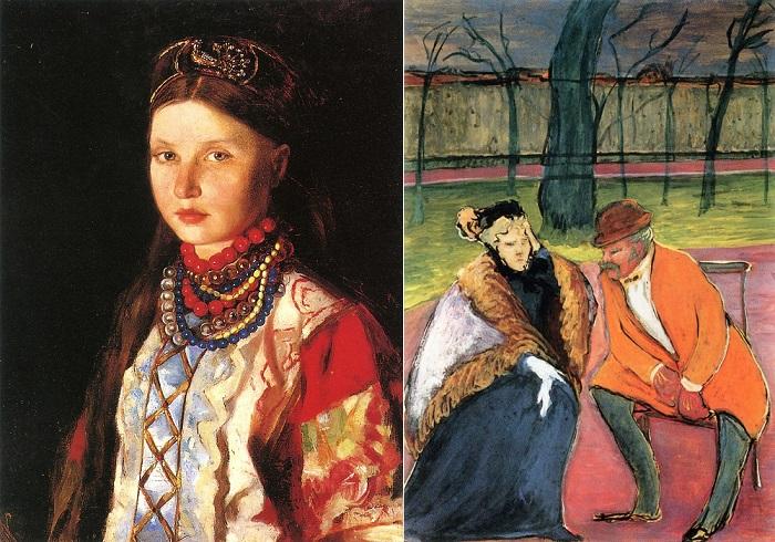Ранняя картина Верёвкиной и созданная через много лет после жизни с травмой руки.