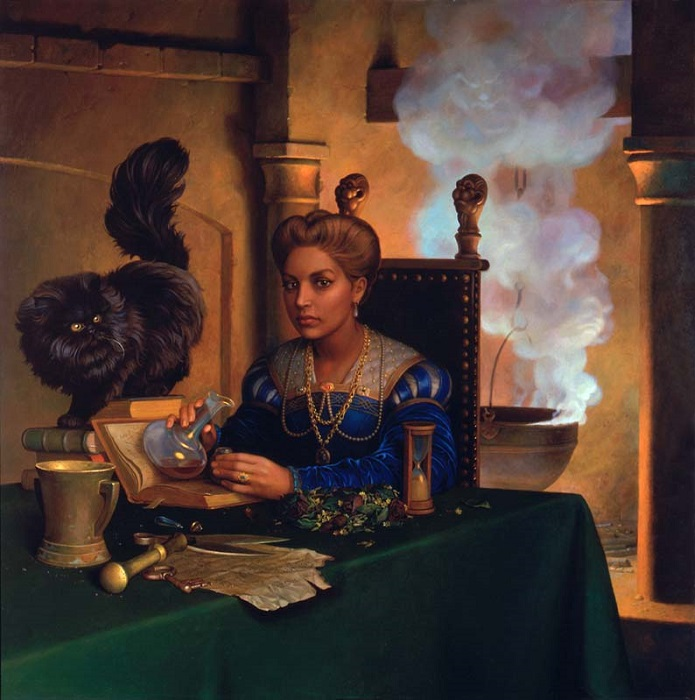 В любой непонятной ситуации женщину подозревали в колдовстве. Картина Николая Бессонова *Приворотное зелье*.