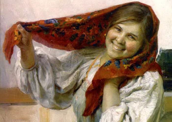 Портрет русской деревенской девушки от Федота Сычкова