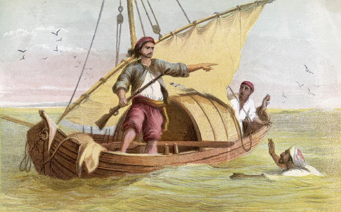Робинзон сбегает из рабства, старинная книжная иллюстрация.